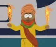 The Prophet Muhammad, showing off his fire powers