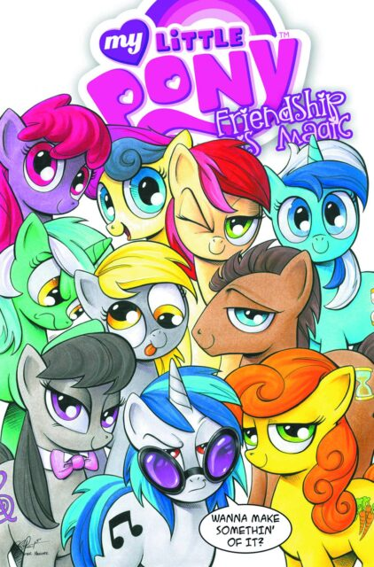 The My Little Pony gang, striking a Kevin Maguire poses