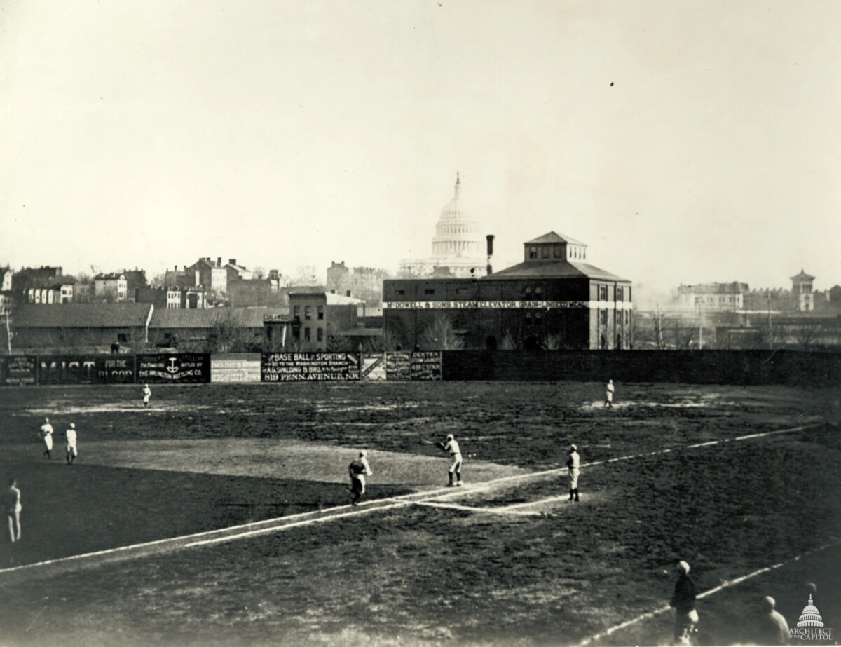 Photograph of Swampoodle Grounds and the Capitol Building, circa 1888