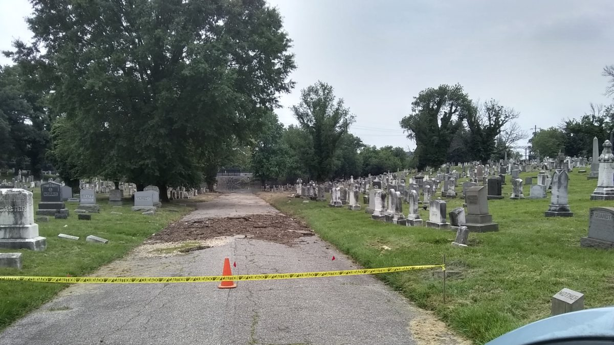 The sight at Loudon Park Cemetery when I arrived