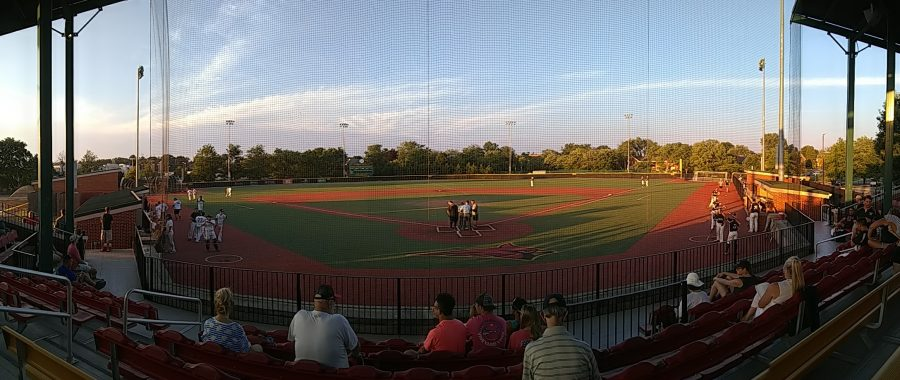 Panorama of Carlo Crispino Stadium as lineup cards are exchanged before game two