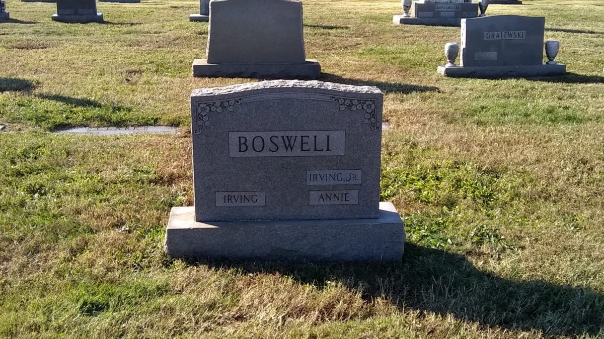The Boswell headstone, showing Irving Boswell