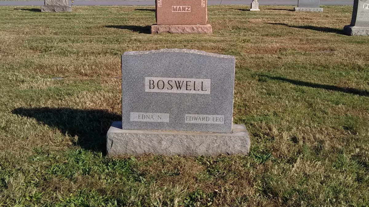 The Boswell headstone, showing Edward and Edna