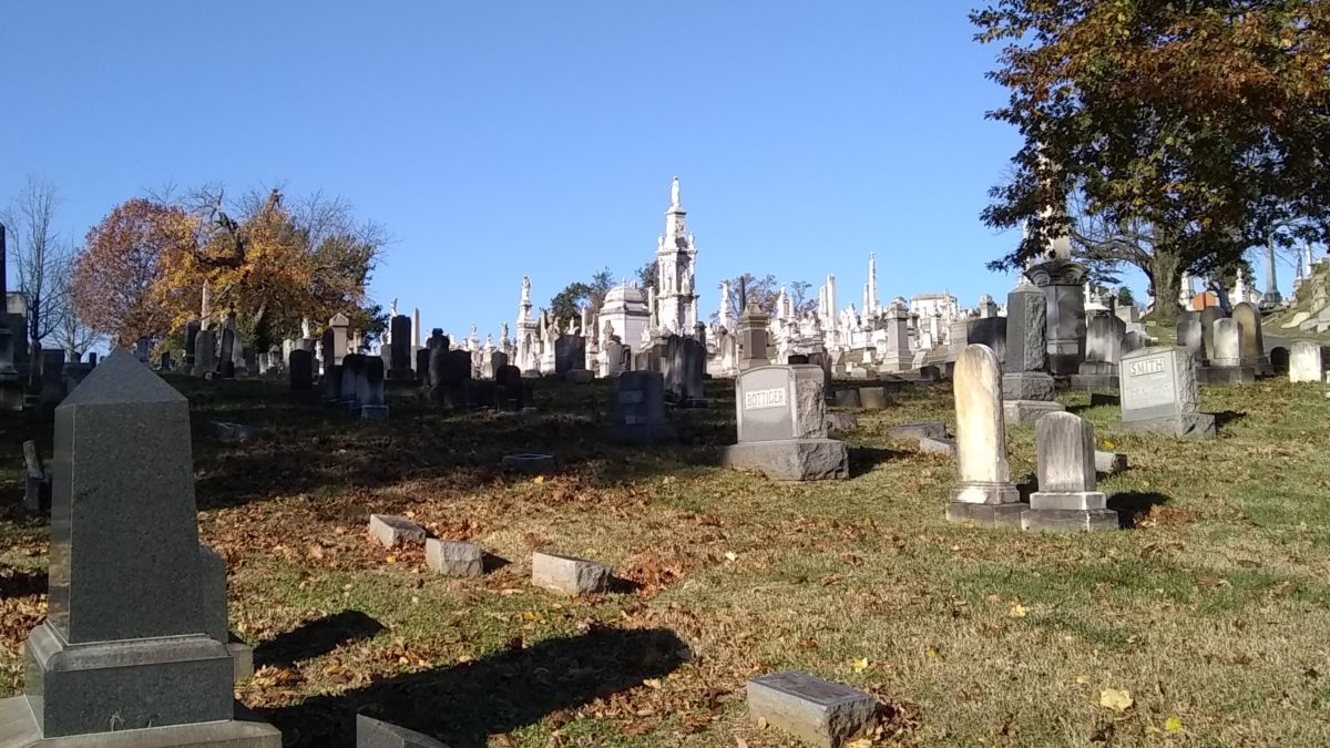 Looking toward the Wiessner monument in Loudon Park Cemetery