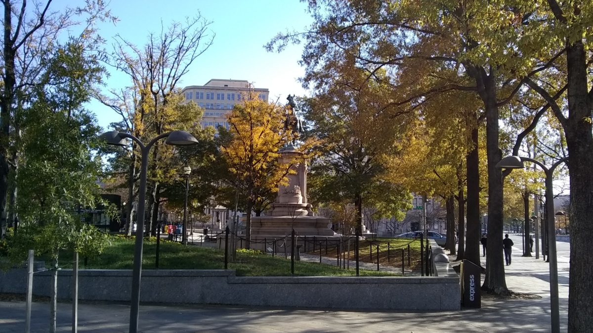 The Winfield Scott Hancock Statue in Washington, DC, near the Navy Memorial