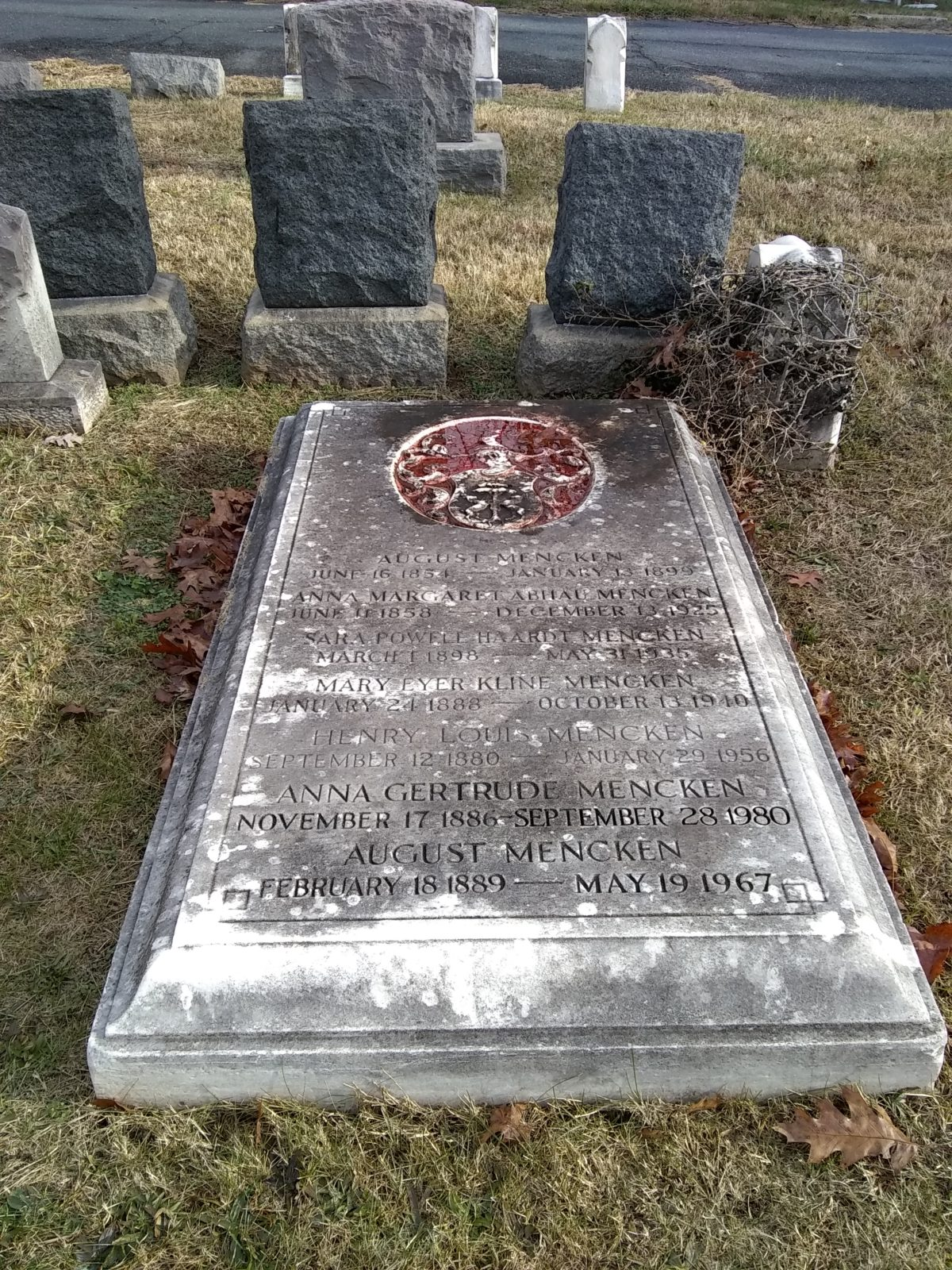 Grave of H,L, Mencken at Baltimore's Loudon Park Cemetery