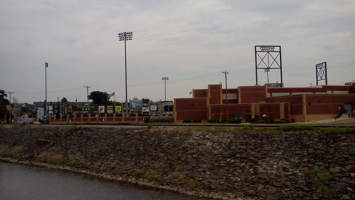 Sovereign Bank Stadium, July 27, as seen from the bridge across Codorus Creek on George Street