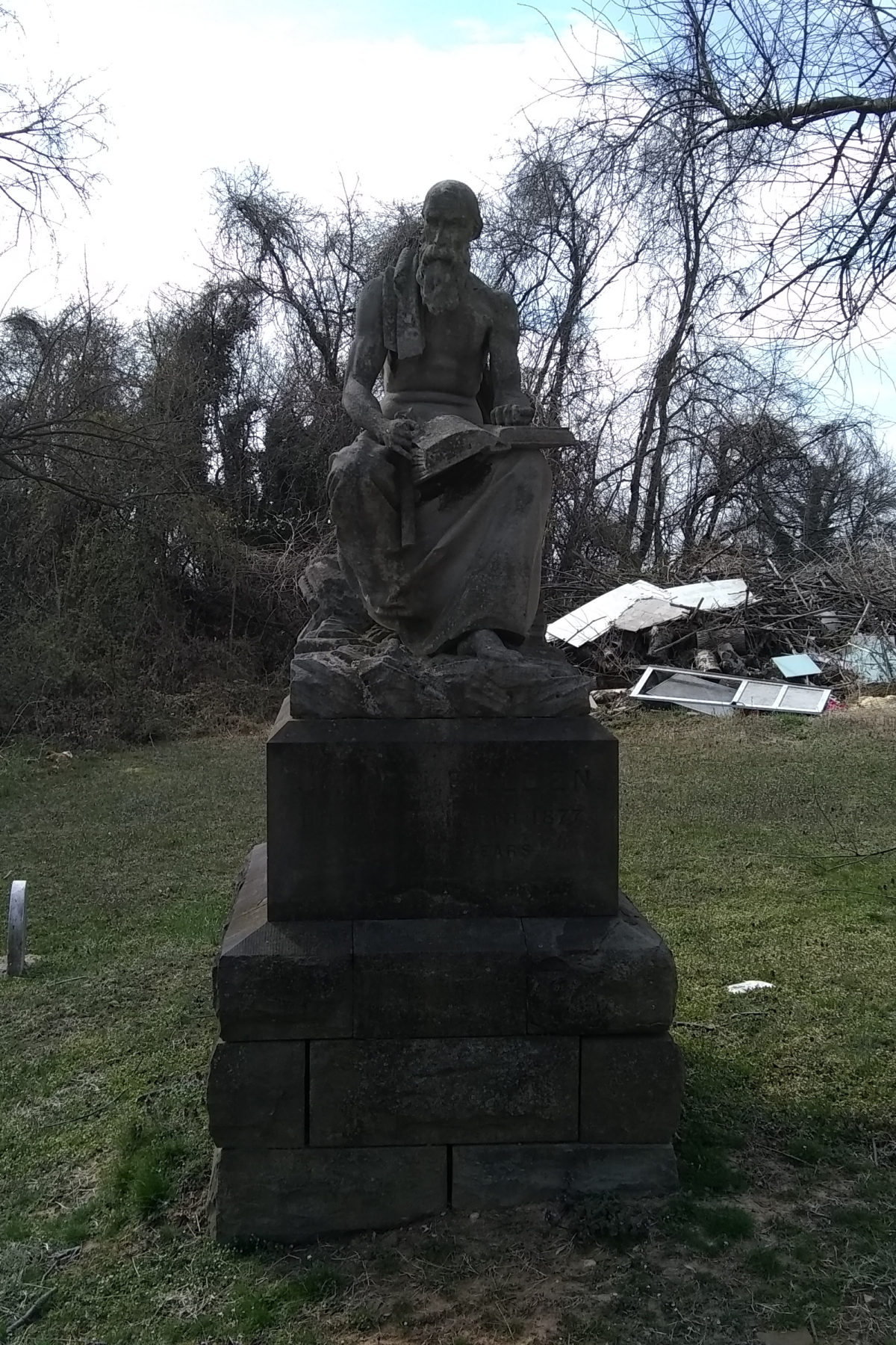 Father Time, the monument for James Belden, the architect of Mt. Carmel