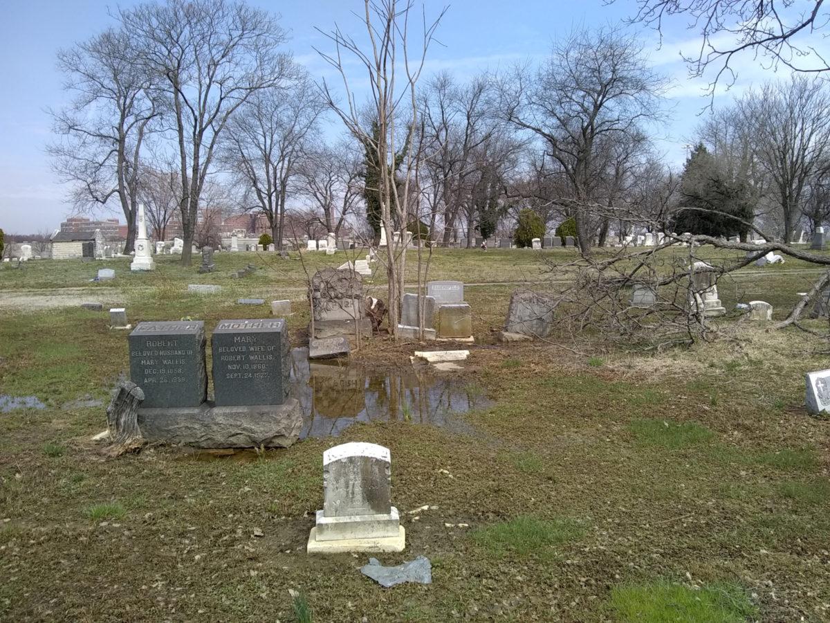 Swampy cemetery, headstones in standing water