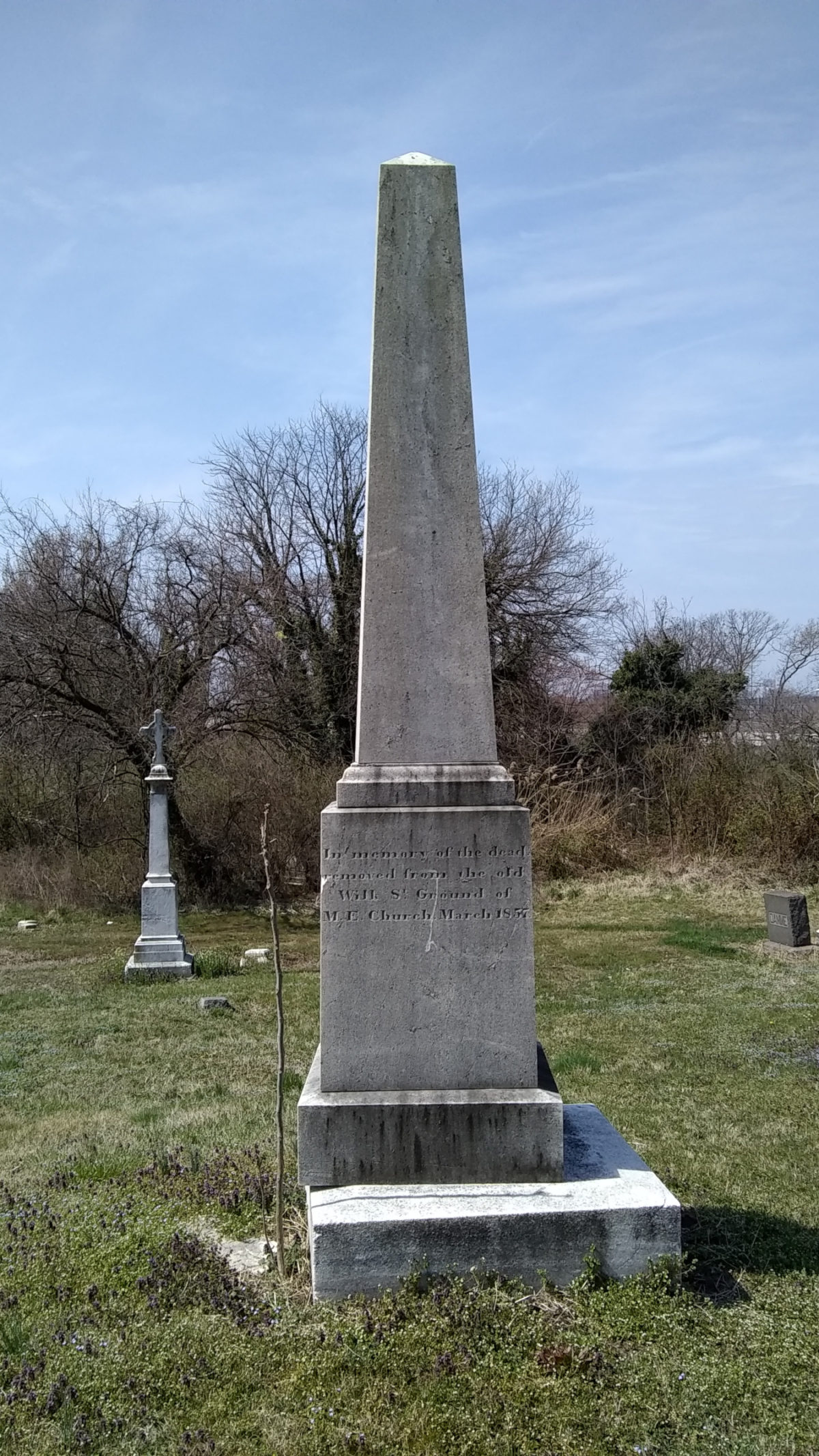 Obelisk monument for bodies relocated from Wilkes Street Methodist Episcopal Church in 1857.