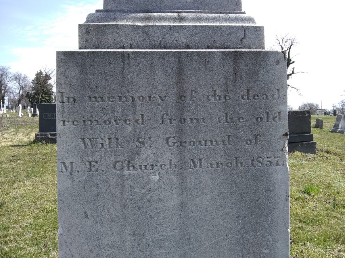 Inscription: In memory of the dead removed from the old Wilk St. Ground of M.E. Church March 1857