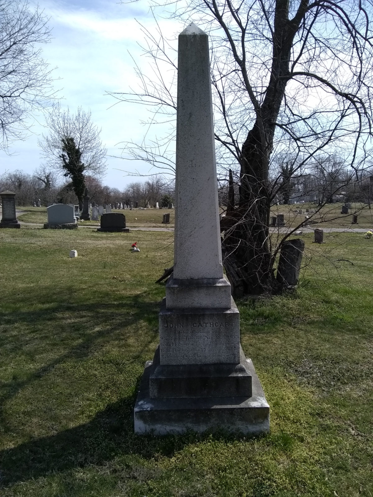Obelisk monument for War of 1812 veteran John Cathcart