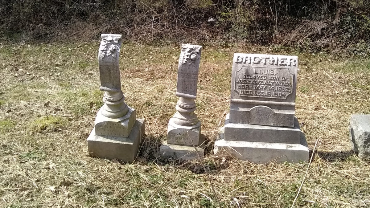 A sculpted headstone