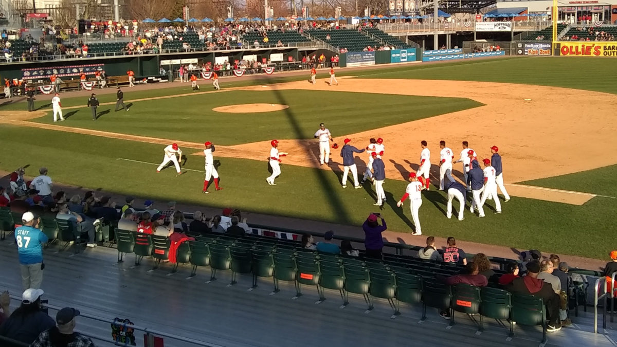 Walk-off celebration following Rhett Wiseman's sac fly