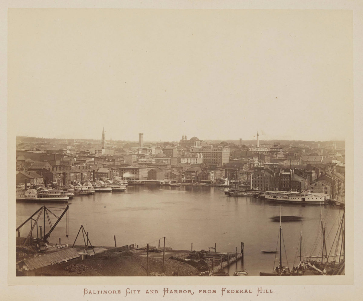 Photograph of Baltimore's Inner Harbor, taken from across the harbor on Federal Hill, circa 1871