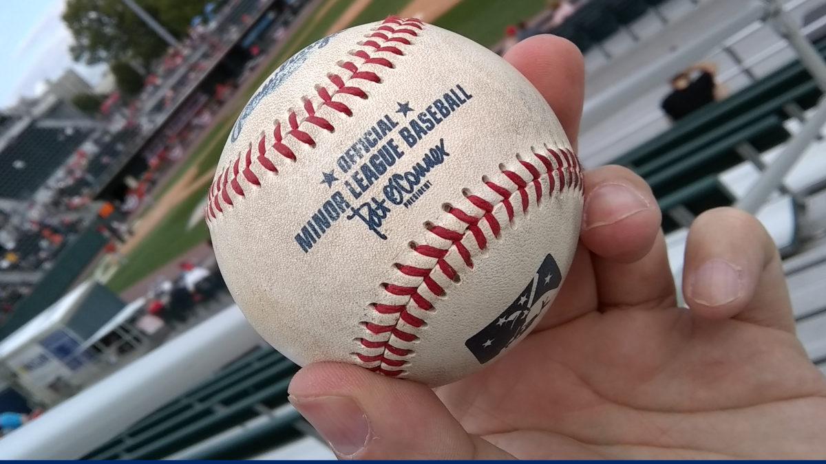 Foul ball off the bat of the Senators' Dante Bichette, Jr. in the seventh inning.