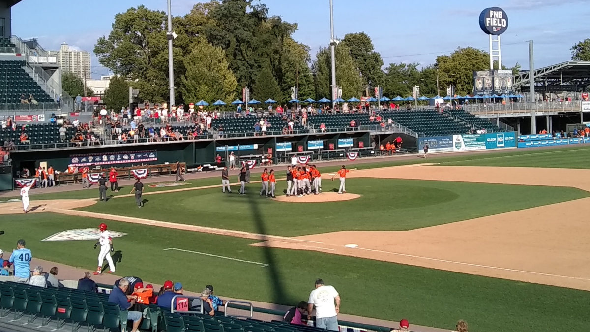 Bowie Baysox on the pitcher's mound, following the final out.