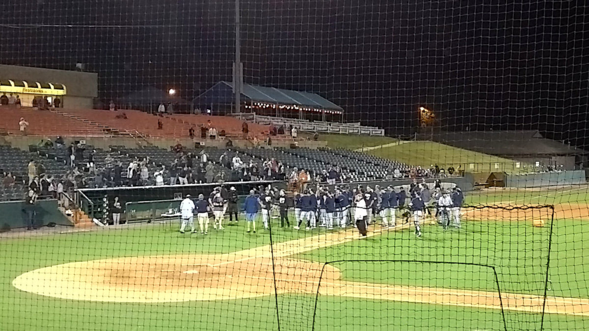 Trophy presentation to the Trenton Thunder