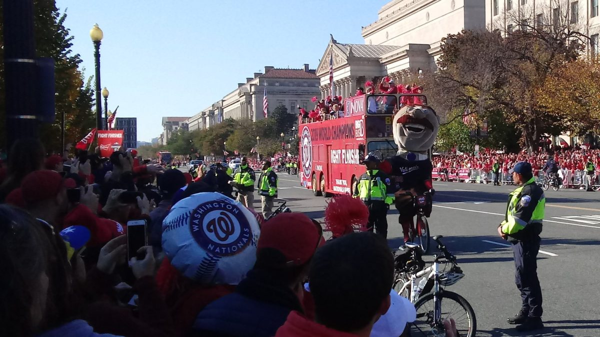 Teddy riding a bicycle down Constitution Avenue