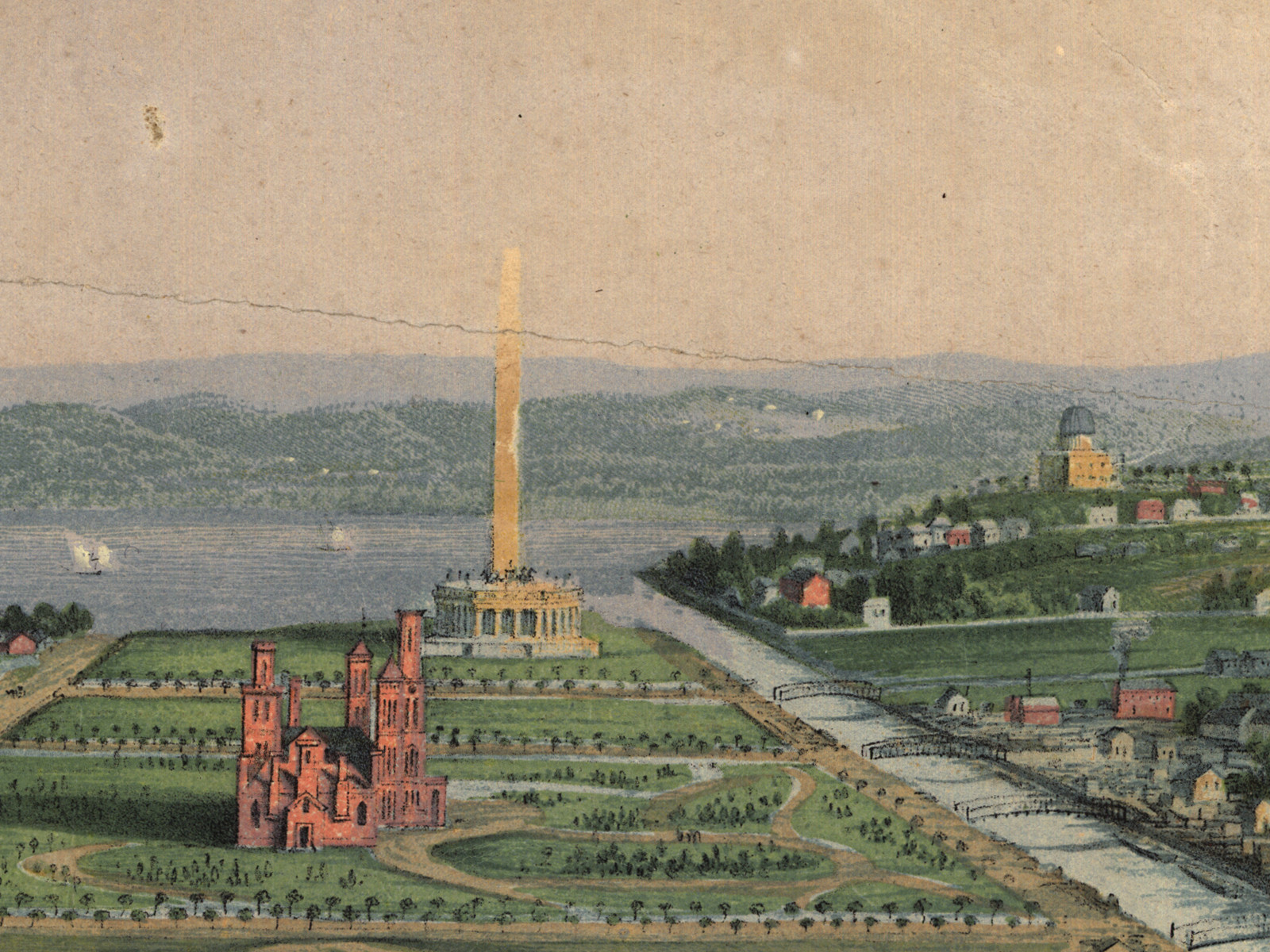 Detail of Washington Monument in the 1852 painting, with the Smithsonian Castle in foreground and the Old Naval Observatory at right.