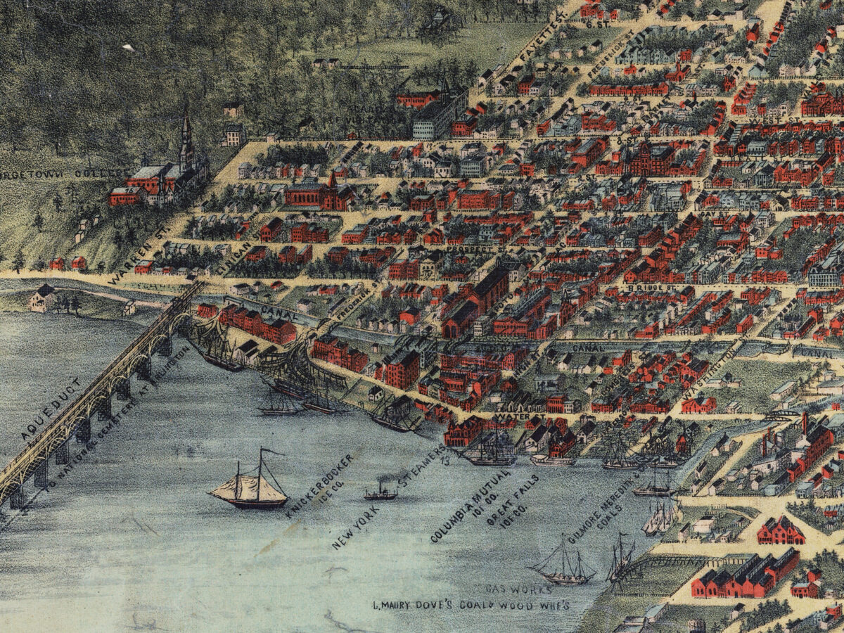 Detail of Georgetown in Adolph Sachse's map of Washington, 1883.