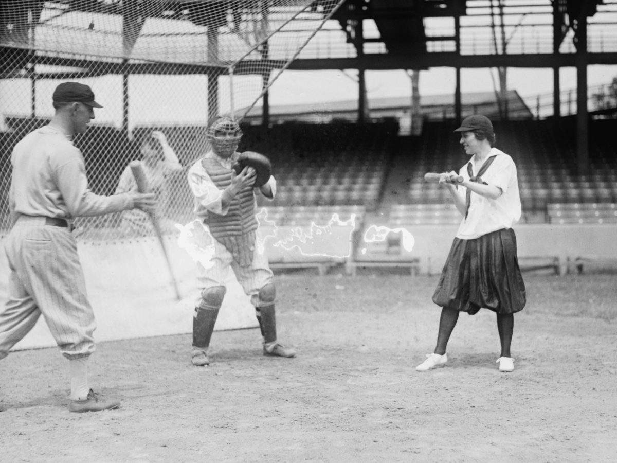 A woman steps in for batting practice