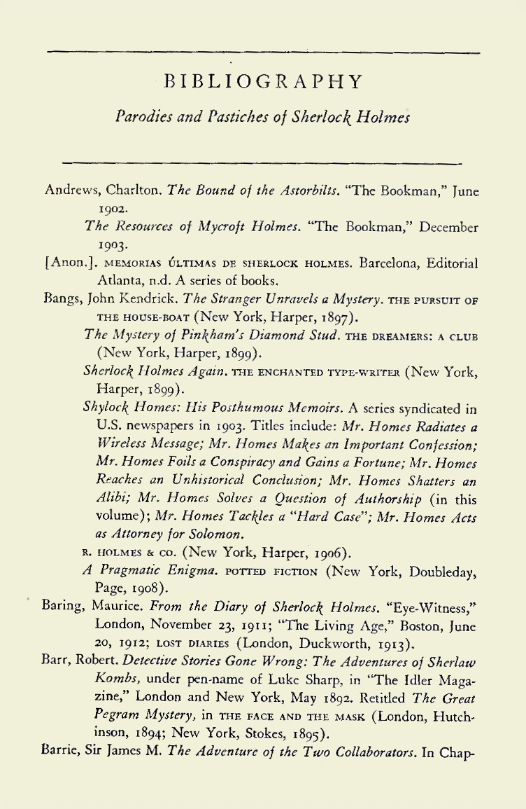 Sample of the bibliography from The Misadventures of Sherlock Holmes