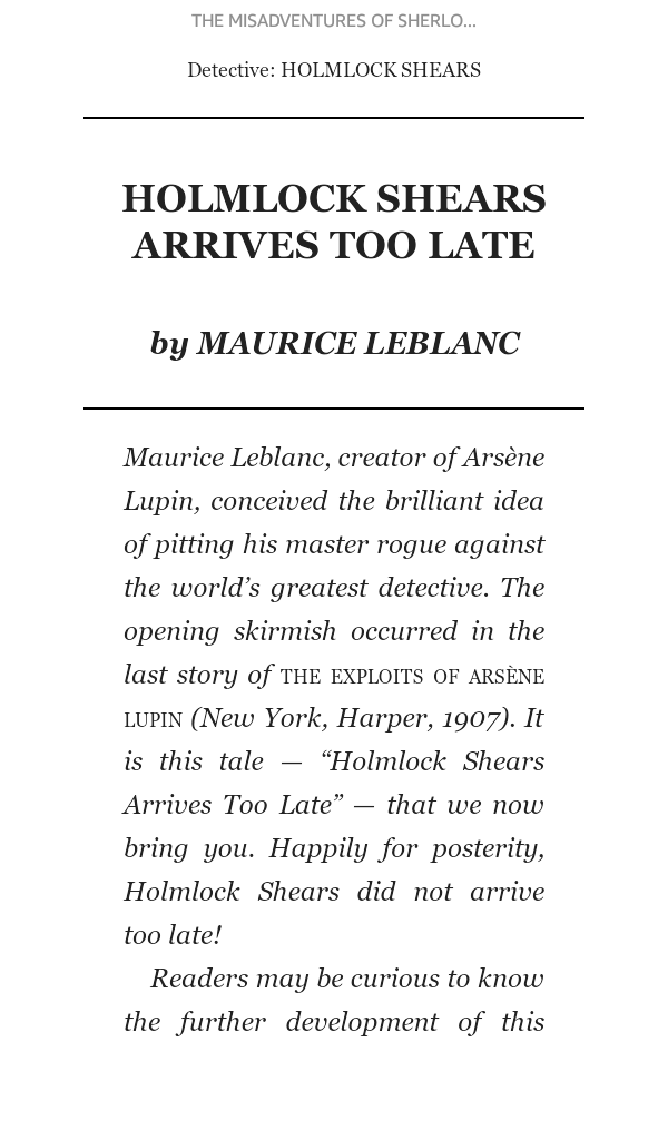 Sample of the first page of a story from my ebook of The Misaventures