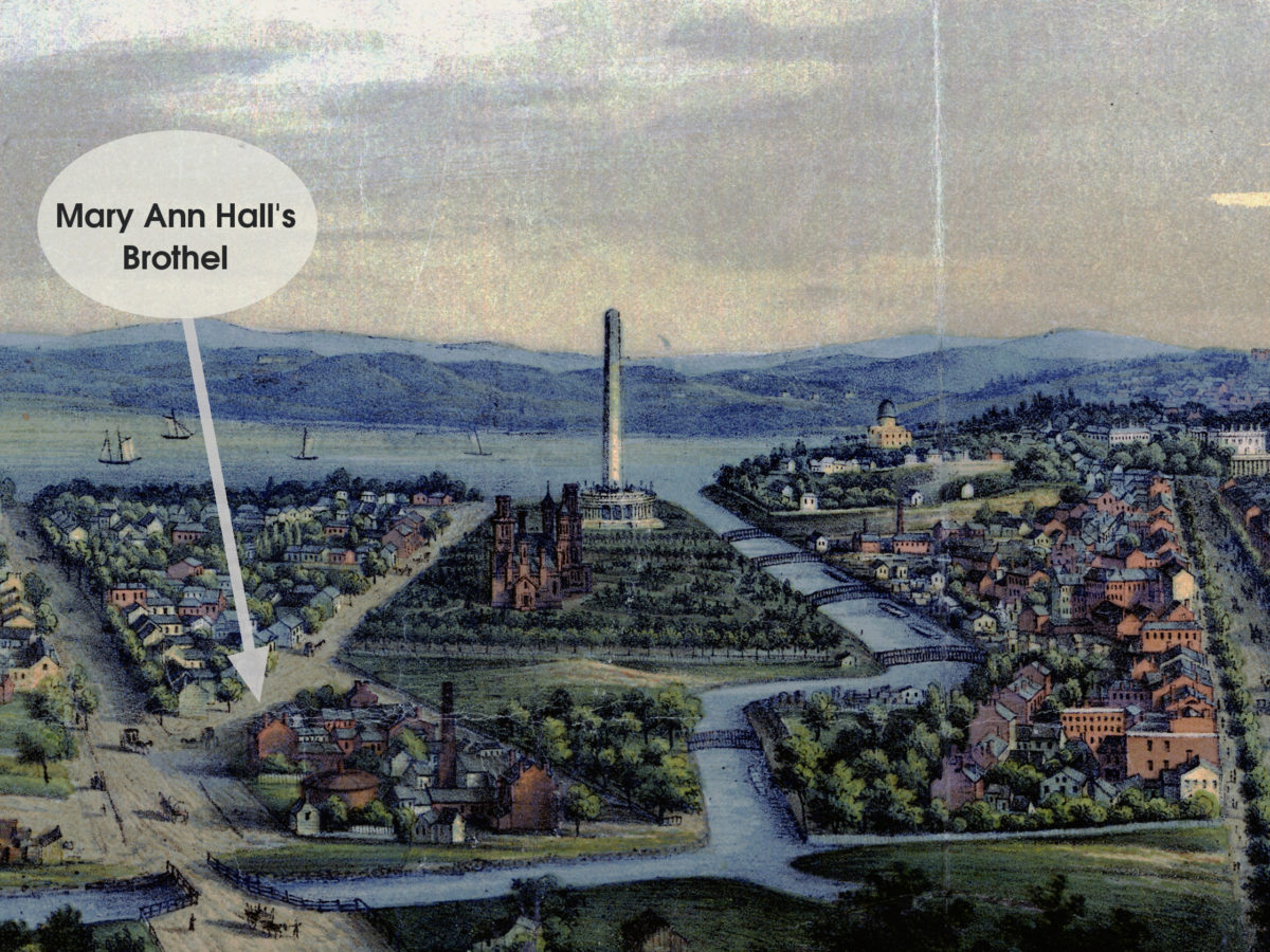 Detail from Edward Sachse's 1856 panoramic view of Washington, DC showing the National Mall, with Mary Ann Hall's brothel indicated