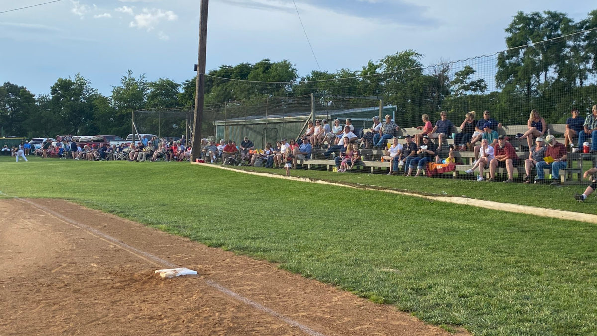 Crowd along the first base line, Buck Bowman Field, Clover Hill, VA, June 27, 2020