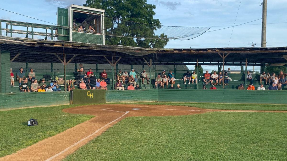 Crowd in the grandstand, Buck Bowman Field, Clover Hill, VA, June 27, 2020