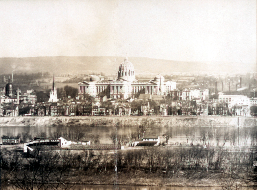 Pennsylvania State Capitol Building and City Island. Detail from a 1906 panoramic photograph.