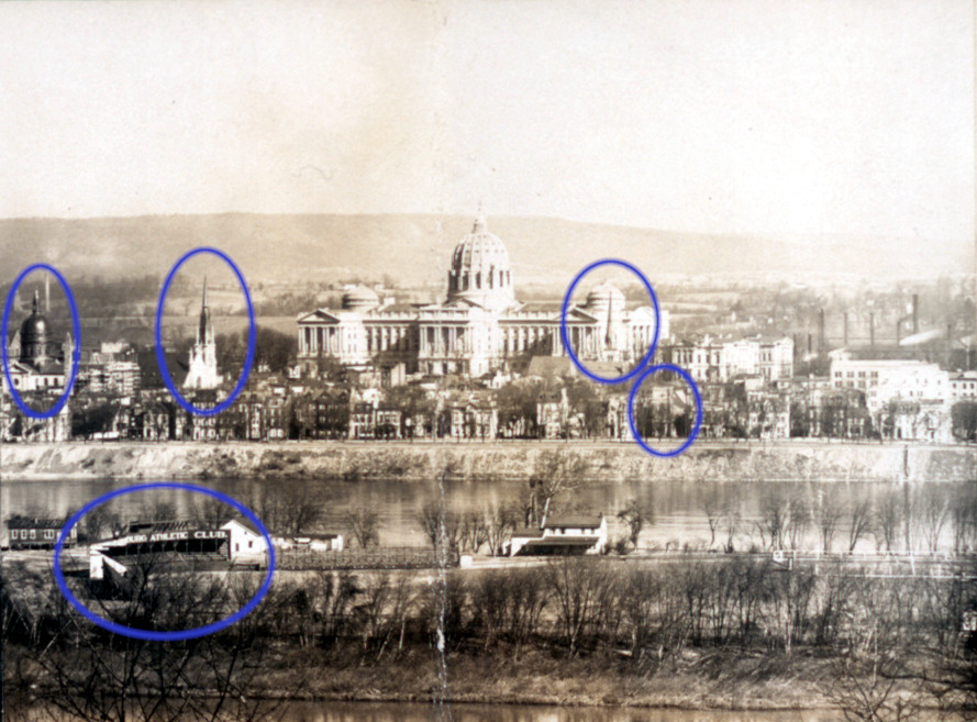 Annotated detail of panoramic view of Harrisburg, 1906