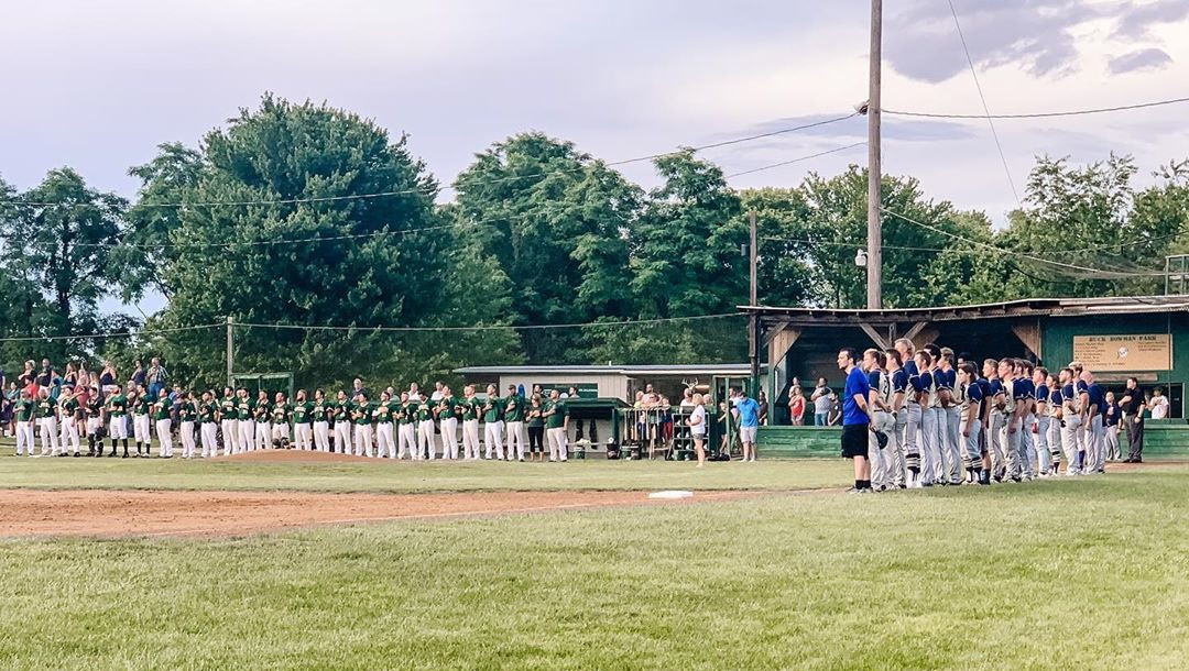 Clover Hill and Broadway, lined up on the baselines for the Star-Spangled Banner