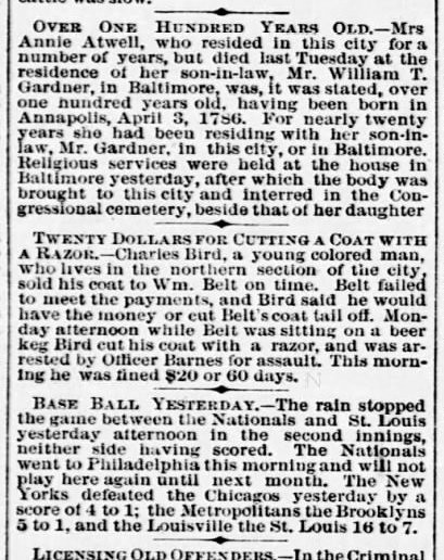Clipping from the (Washington) Evening Star, June 10, 1886, about the death of Annie Atwell, aged one hundred, earlier that week
