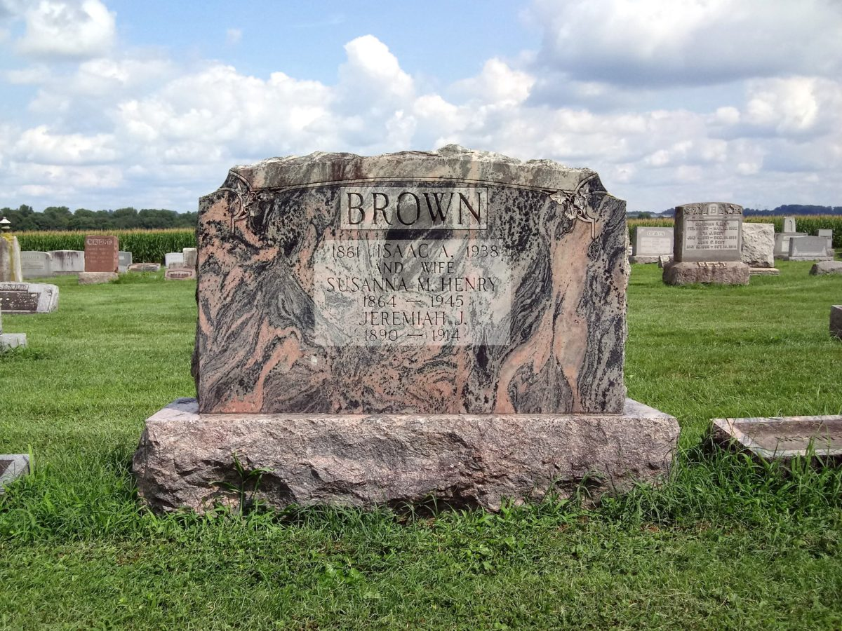 Headstone of Isaac and Susanna Brown