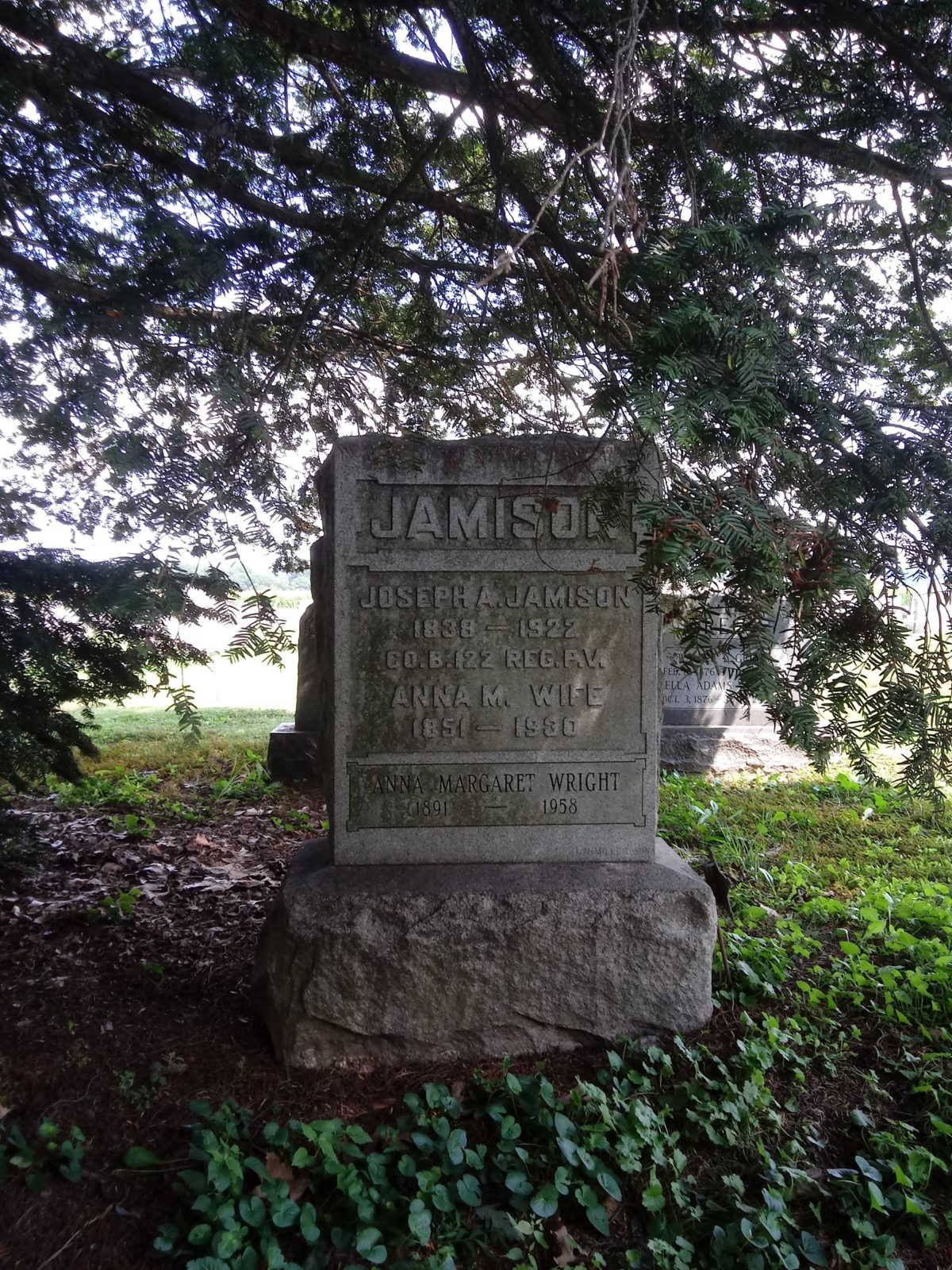 Headstone beneath a tree