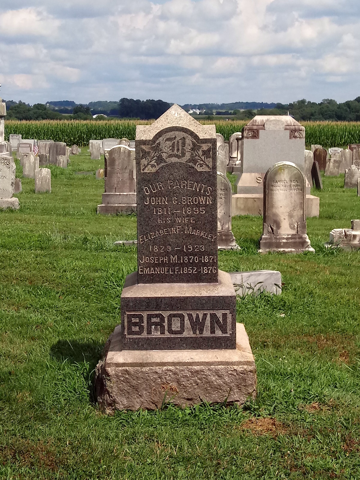 Headstone of John and Elizabeth Brown