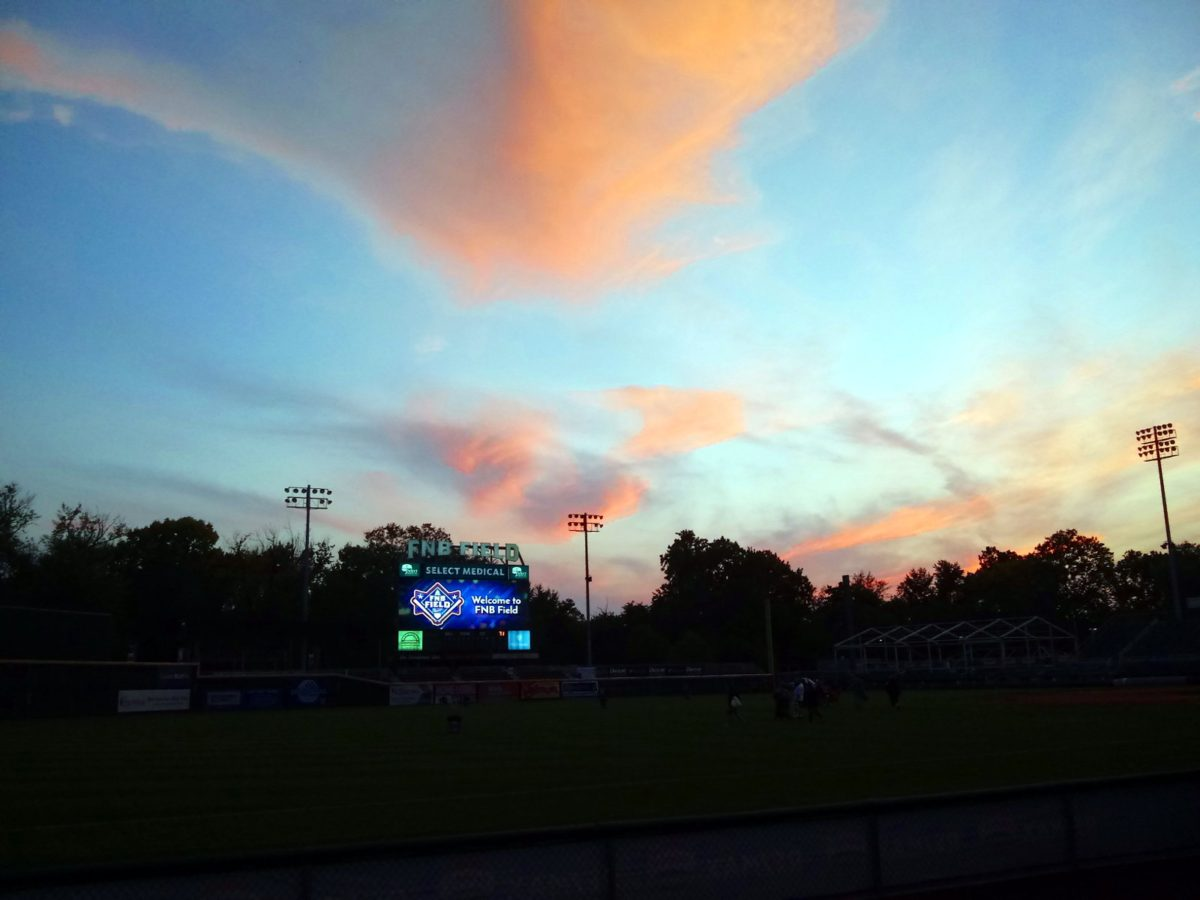 Sunset-tinged clouds over FNB Field