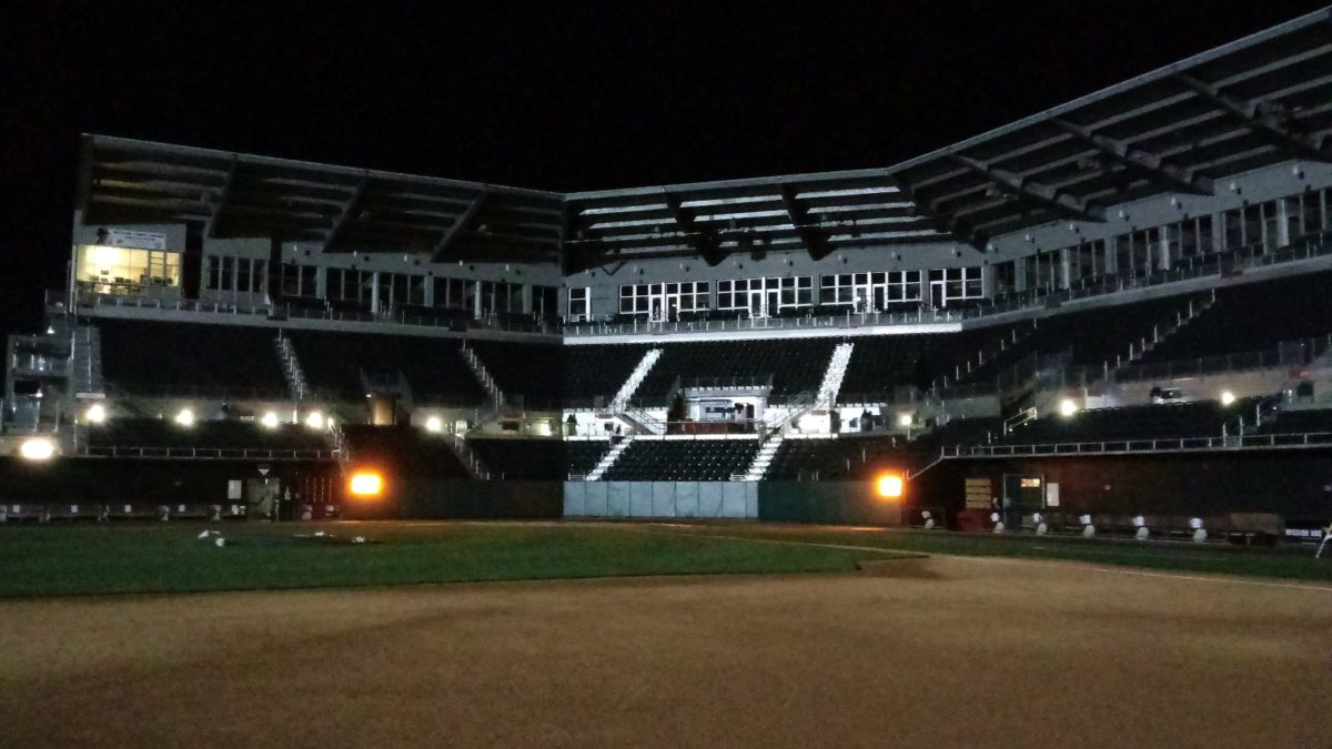 The grandstand of FNB Field at night