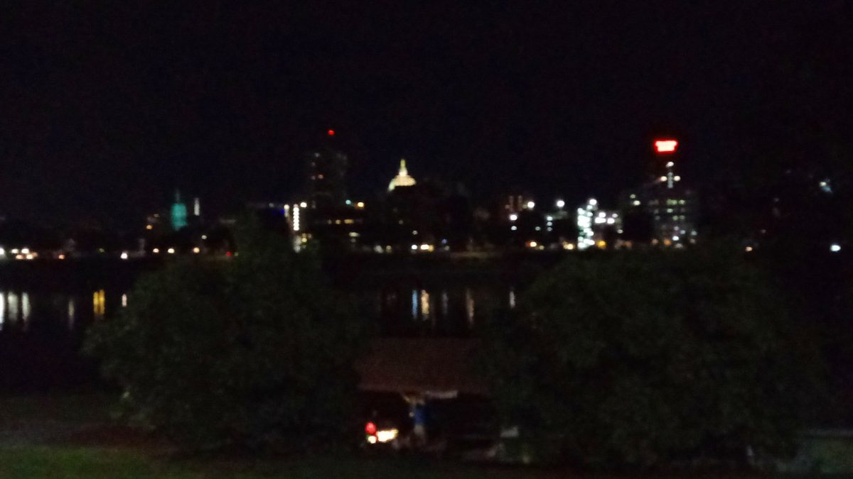 Harrisburg at night along the Susquehanna waterfront