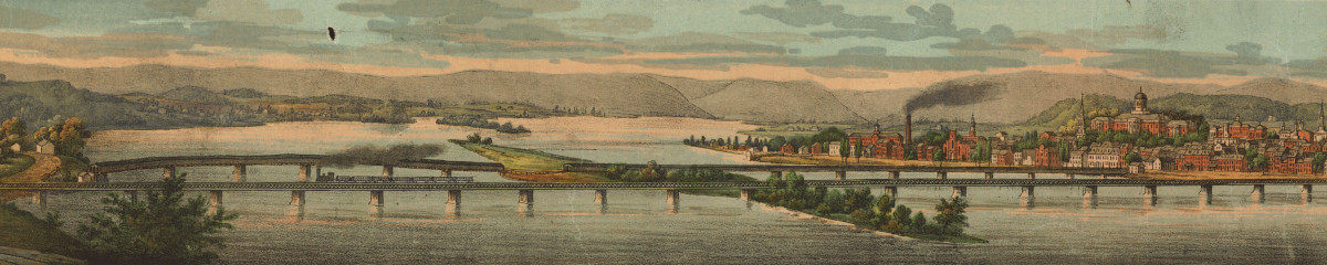 City Island, as depicted in JT Williams' 1855 painting of Harrisburg
