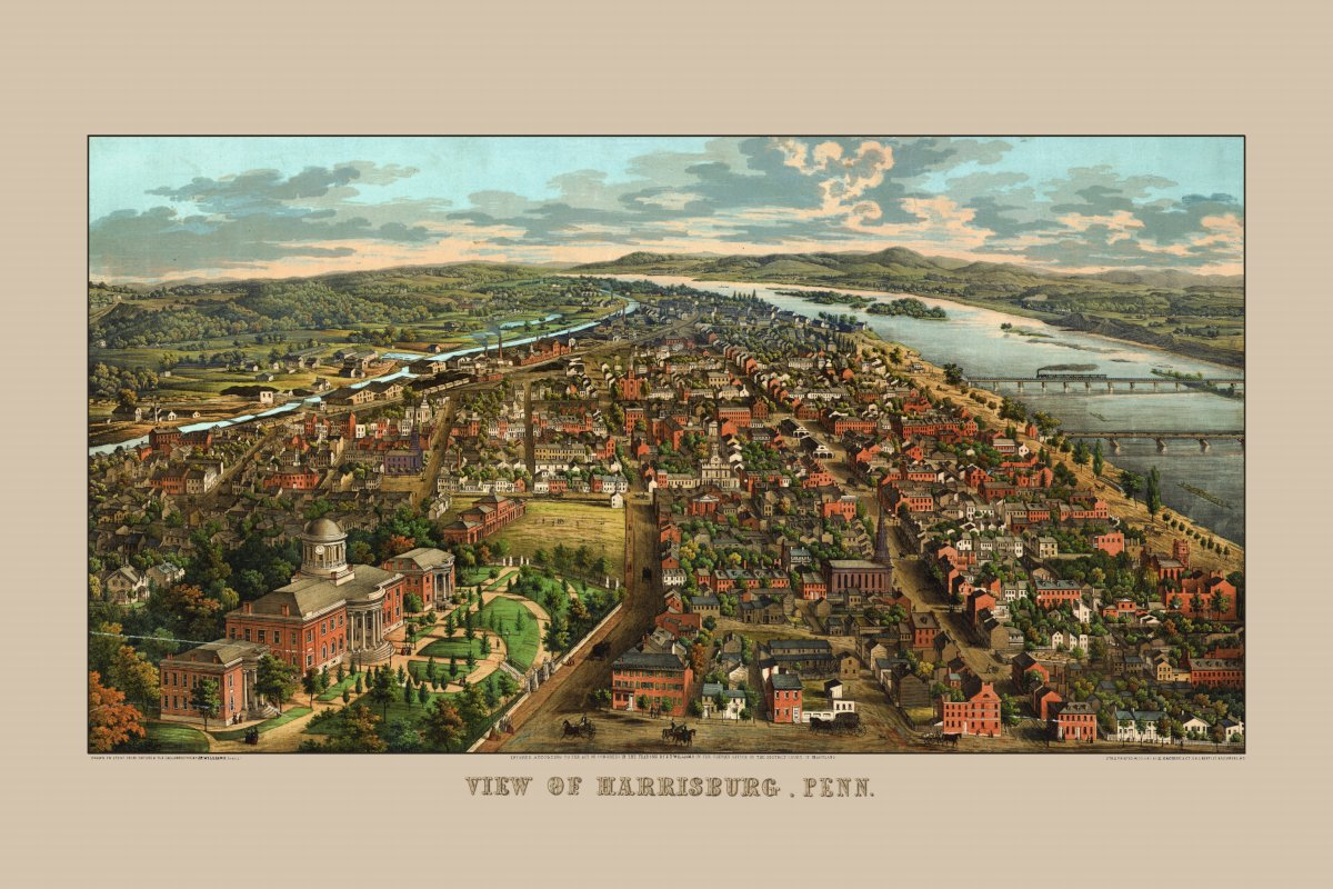 Harrisburg, 1855, looking south, formatted as a single image