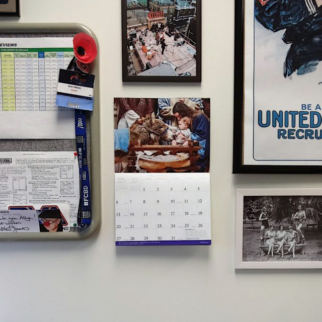 National Cathedral calendar on the wall of my office