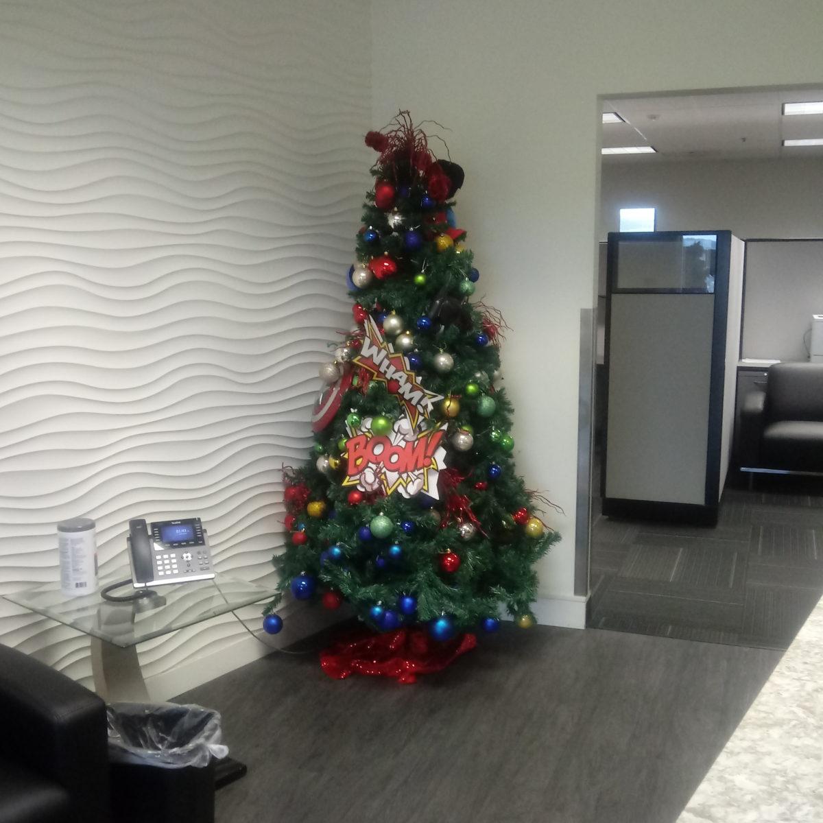 Christmas tree in Diamond's lobby, January 2021