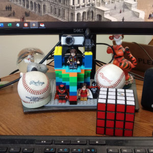 The webcam tower, built from LEGO, on my desk