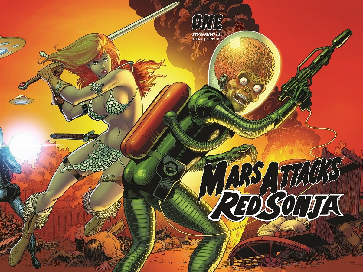 Barry Kitson's cover to Mars Attacks Red Sonja #1