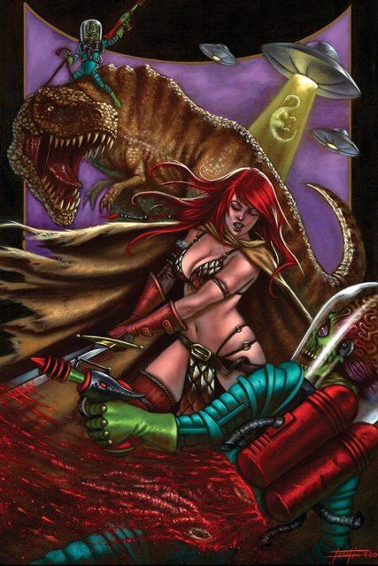 Luca Strati's cover to Mars Attacks Red Sonja #2