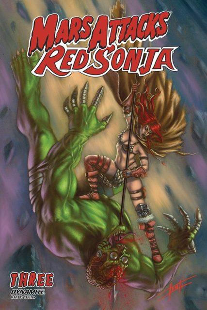 Luca Strati's cover to Mars Attacks Red Sonja #3