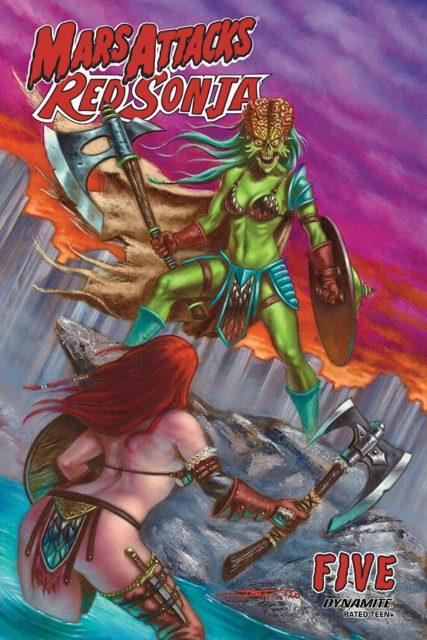 Luca Strati's cover to Mars Attacks Red Sonja #5